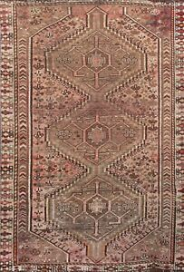 Antique Geometric Oriental Area Rug Traditional Hand-knotted Wool 4x6 ft Carpet