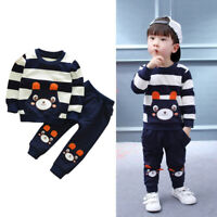 Fashion Kids Toddler Baby Girls Boys Clothes Set Striped Bear Tops+Pants Outfits