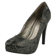 Spot On F9745 Ladies Black Grey Snake Print Court Shoe (34B) (Kett)