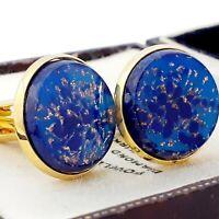 Vintage - 1950s Lapis Lazuli Blue Glass - Large Goldtone Round 20mm Cufflinks