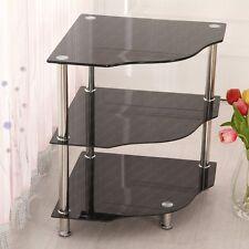 3-Tier Corner Table Black Glass Storage Shelf Stand Display Unit Chrome Legs