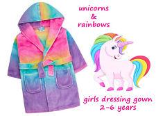 Einhorn Regenbogen Mädchen Bademantel Super Weich Robe mit Kapuze Hell Süß Idee