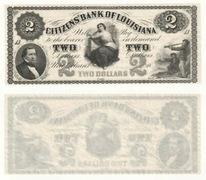 USA - The Citizens' Bank of Louisiana $2 Banknote.