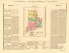 Rhode Island Antiguo Mapa del Estado condados. Buchon. 1825 Old Gráfico