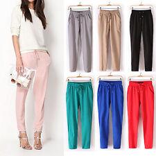 LK _femme couleur unie Cordon taille élastique mousseline de soie pantalon