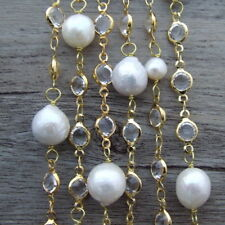 White Round freshwater Pearl Crystal Chain 69''  Necklace