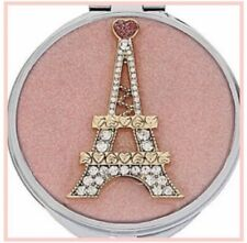 Betsey Johnson Pink Silver Sparkle Compact Purse Mirror Paris Eiffel Tower Gift