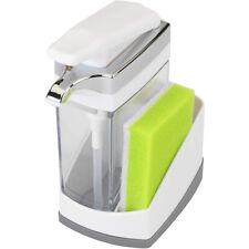 Casabella Sink Sider Solo With Sponge Kitchen Soap Pump Dispenser, White Chrome
