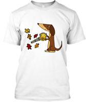 Cute Dachshund Dog Using Leaf Blower Hanes Tagless Tee T-Shirt