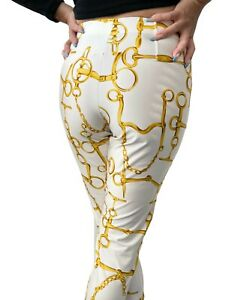 GUCCI Vintage Gold Chain Pattern Leggings Bottoms #S White Gold Nylon RankAB
