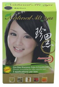 Natural Mi Ya Herbal Colorant 3-1 Hair Dyeing Color Shampoo, Black