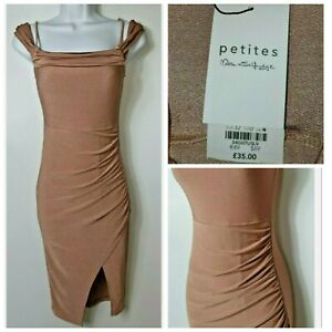 Miss Selfridge Ruched Detail Sleeveless Stretch Midi Fitted Bodycon Dress 4 A289