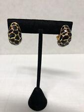KJL Kenneth Jay Lane Leopard Earrings Vintage Half Hoops Clip Ons