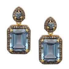 Champagne Diamond & London Blue Topaz Gold Plated Earring For Wedding Jewelry