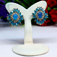 NATURAL 5 X 7 mm. OVAL BLUE OPAL APATITE & WHITE CZ EARRINGS 925 STERLING SILVER