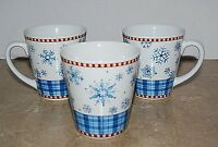 Debbie Mumm SNOWFLAKE Coffee Mug Cup Sakura Lot of 3 Winter Holiday