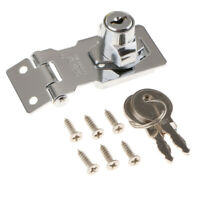 Zinc Alloy Chrome Plated Hasp Door Buckle Latch Cabinet Drawer Lock + Keys A