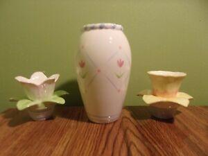 Avon - Elegant Blooms Vase And Taper Holders - (2006) - 3 Piece Set - Ceramic