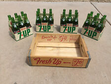 1971 7Up 7 Seven Up 24 Bottle 12oz Wooden Case 6 Packs Carriers VERY CLEAN! MN