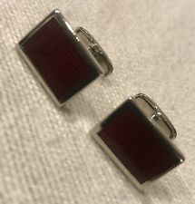 Square Stainless Steel And Red Enamel Cufflinks