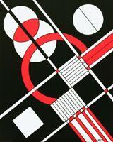 Tableau abstrait géométrique contemporain 40 x 50 cm. Original signé A.G.