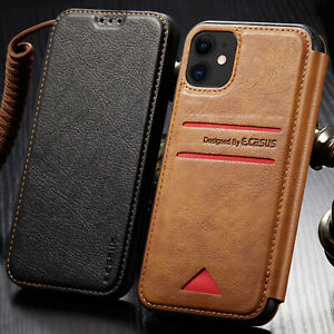 Leather Back Wallet Magnetic Flip Cover Slim Case For iPhone 12/11 Pro XS MAX XR