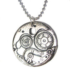 "Simple STEAMPUNK GEAR Medallion Pendant Silver Plated Charm 24"" Necklace"