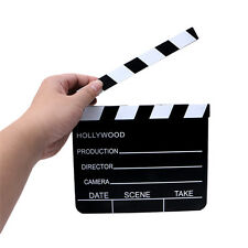 Pro Movie Film TV Slate Clapper Board Dry Erase Clapboard Cut Action Scene Wood