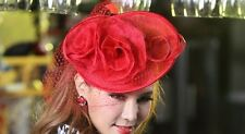 EXQUISITE HANDMADE RED SINAMAY FASCINATOR WITH NETTING, FEATHERS & FLOWERS