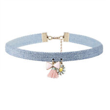 Cute Pink Bow Tassel Little Flower Pendants Necklace Blue Denim Statement Choker