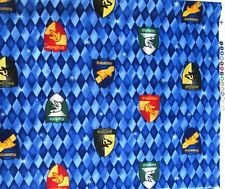 "Harry Potter ""Hogwarts School House Shields"" RARE Fabric FQ Fat Quarters"