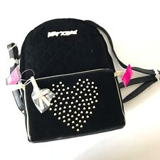 Betsey Johnson Black Polyester Heart Stud Zip Off Pouch Backpack BR24685 NWT