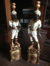 Antique Victorian Pair Carved Blackamoor Entrance Figures Venetian Italian Hotel