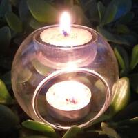 Elegant Tea Light Glass Candle Holders Wedding Table Centrepiece Wax Pillar Case