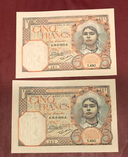 New ListingAlgeria Tunisia Bank D'Algerie Running Pair 5 Francs 1933 Pick 77a Unc Rare