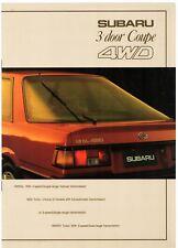 Subaru 1.6 1.8 Turbo 4WD L-Series Coupe 1985-86 UK Market Sales Brochure GL