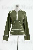 Twilight Bella Green Kangaroo Henley Shirt Uniform Cosplay Costume Halloween