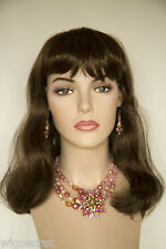Light Chestnut Brown Brunette Long Medium Straight Skin Top Wigs