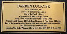 NRL Darren Lockyer  State of origin Legend stats Gold Sublimated Plaque