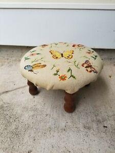 Vintage Victorian Small 3 Wooden Legged Needlepoint 14' Footstool
