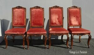Set of Four French Red Velvet Carved Dining Side Chairs