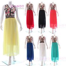 Full Length Polyester Boat Neck Sleeveless Dresses for Women