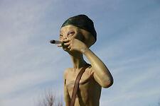 Alien Standing Smoking Joint Cigar UFO Statue Art Marijuana Decor Tobacco Pipe