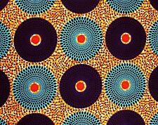 African Fabric 1/2 Yard Cotton Wax Print AQUA PURPLE ORANGE Circles Dots BTHY