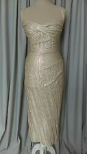Stop Staring! Million Dollar Baby Wiggle Dress Sz M Champagne w/ Gold Shimmer