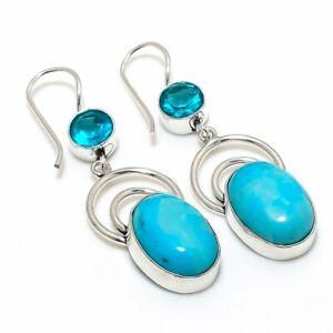 "Tibetan Turquoise, Blue Topaz 925 Sterling Silver Jewelry Earring 2.17 "" C529"