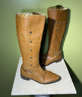 Michael Kors Brown Leather W/ Gold Studs & Buckle Tall Riding Boots Size 9.5