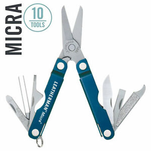 ~NEW~ Leatherman Micra Keychain Multi-Tool, Stainless w/ Blue Anodized Body