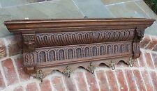 Antique French Oak GOTHIC Wall Shelf Coat Hat Copper Pot Rack Kitchen LIONS