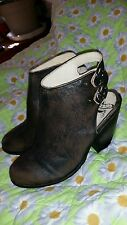 FREEBIRD by STEVEN FB-SMOKE ALL LEATHER STRAPPY ANKLE BOOTS SHOES SZ 9,USED 1S